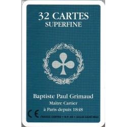 GRIMAUD - JEU DE 32 CARTES SUPERFINES DOS BLEU