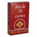 JEU DE 54 CARTES DOS ROUGE - FRANCE CARTE