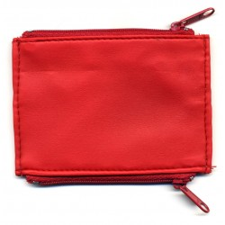 PORTE PENDULE EN CUIR SYNTHETIQUE SOUPLE ROUGE - DOUBLE POCHES