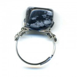 BAGUE SODALITE SUR METAL CHROME - MONTURE AJUSTABLE