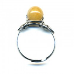 BAGUE CORNALINE SUR METAL CHROME - MONTURE AJUSTABLE