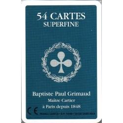 GRIMAUD - JEU DE 54 CARTES SUPERFINES DOS BLEU